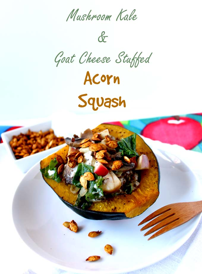 Mushroom, Kale, and Goat Cheese Stuffed Acorn Squash