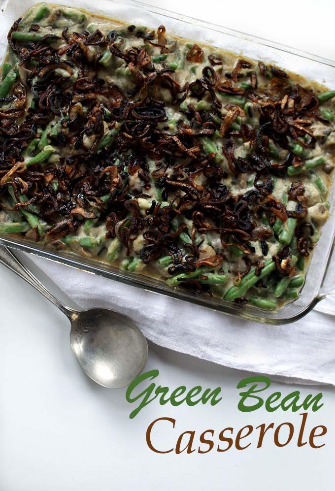 Green Bean Casserole with Creamy Cauliflower Sauce and Crispy Shallots. #Thanksgiving #holiday #Glutenfree
