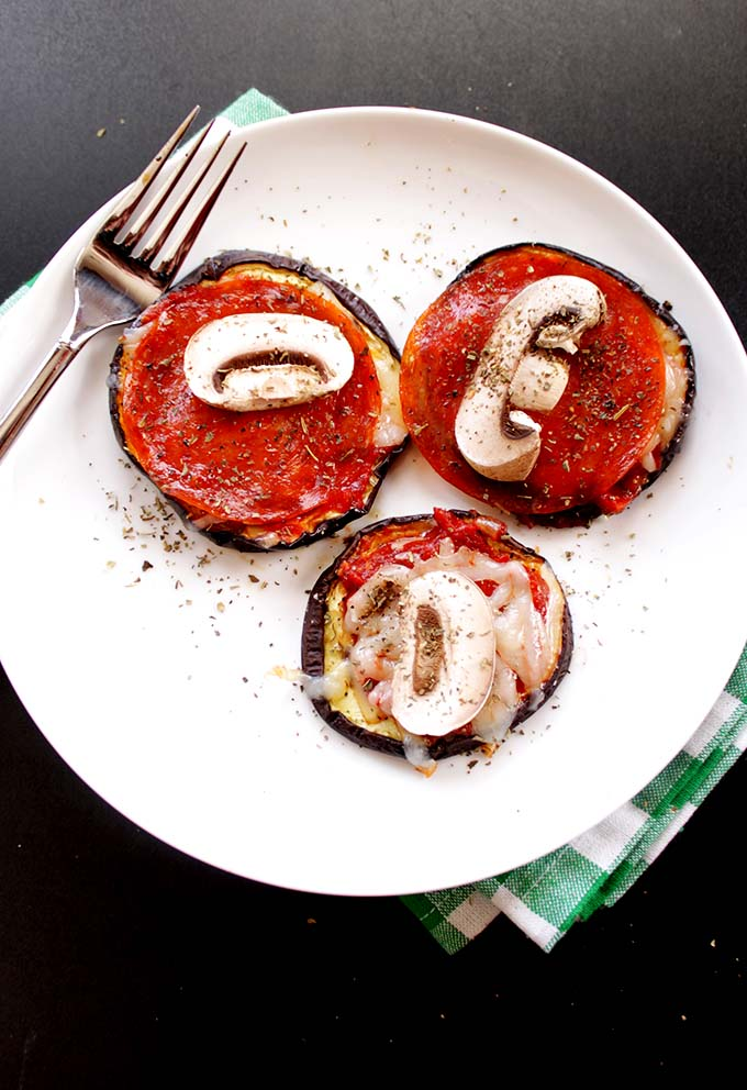 Eggplant Pizzas. Easy. Healthy. Customizable. Satisfying. #glutenfree