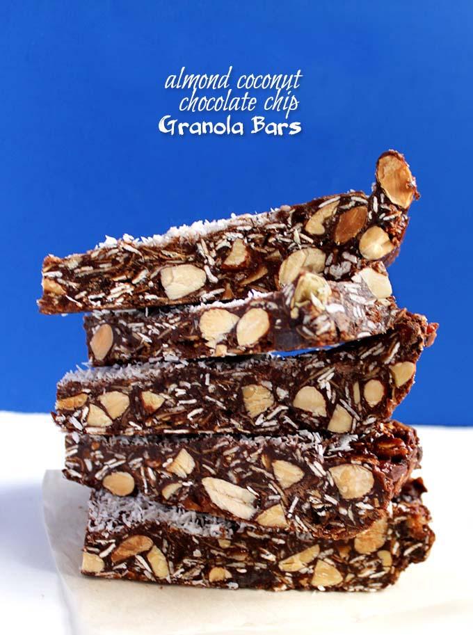 Almond Coconut Chocolate Chip Granola Bars. Simple. Easy. Delicious. guilt free dessert #GlutenFree #RefinedSugarFree
