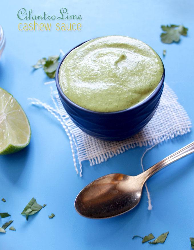 Cilantro Lime Cashew Sauce. Easy, bursting with flavor! #Vegan #glutenfree