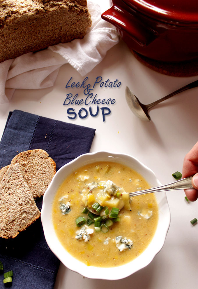 Leek Potato and Blue Cheese Soup. Easy. Simple. Perfect for St. Paddy's day!  #Vegetarian