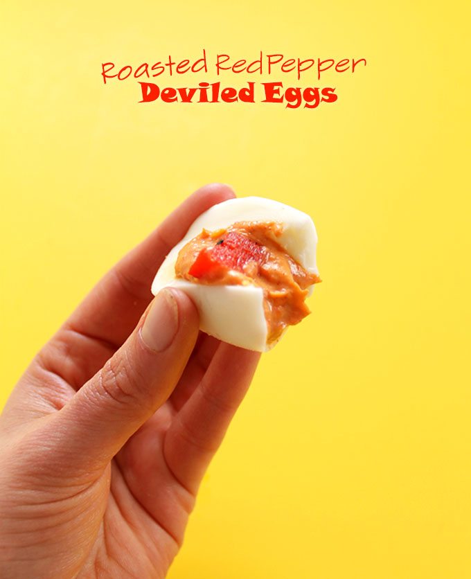 Roasted Red Pepper Deviled Eggs. Best appetizer for Easter Gatherings. No food dye necessary #Easter