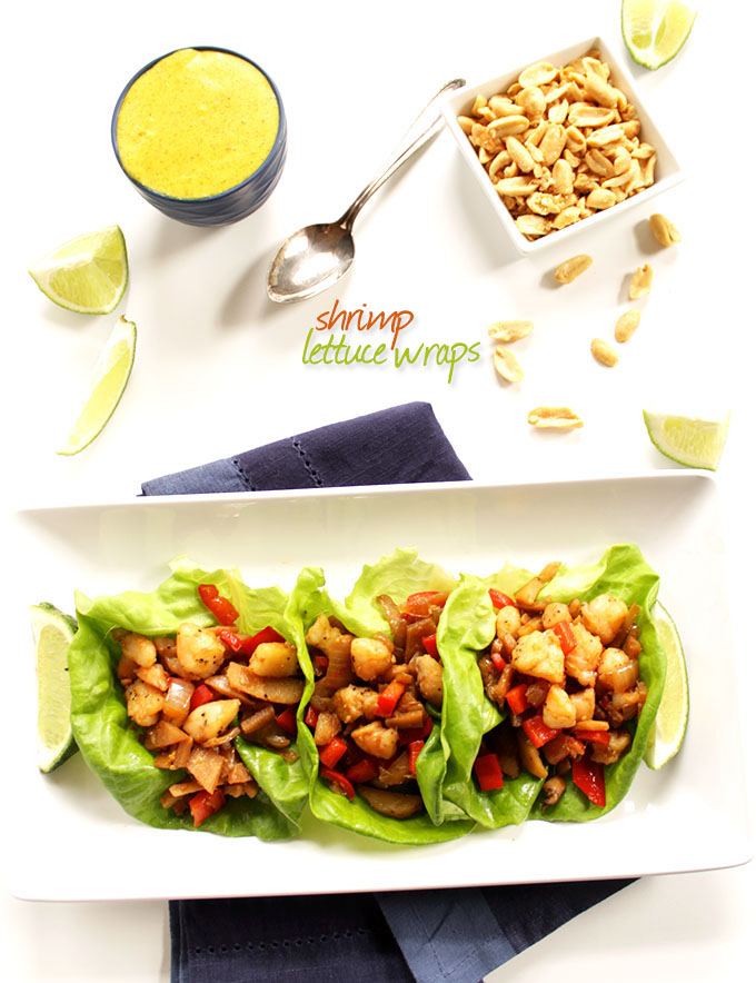 Shrimp Lettuce Wraps with Coconut Curry Sauce. Easy, quick, healthy meal. Only takes 35 minutes to make! #glutenfree