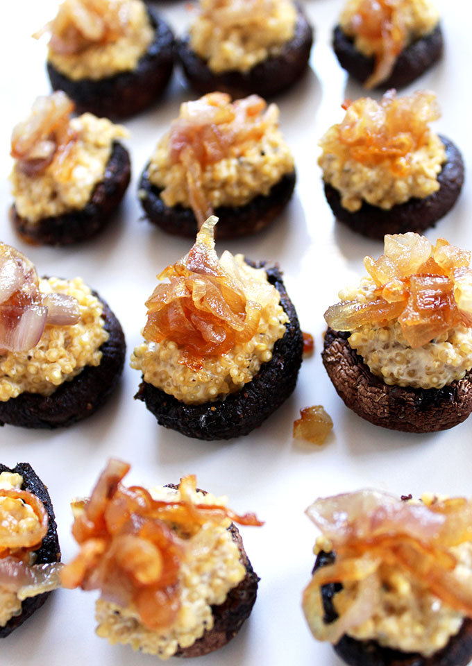 Quinoa Stuffed Mushroom Caps with Caremilized Shallots. Simple. Delicious. The perfect appetizer. #glutenfree #vegetarian