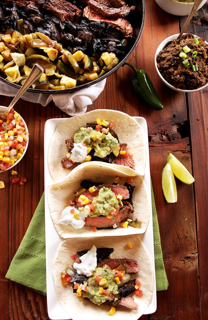 Zucchini and Portobello Steak Fajitas. Perfect for Cinco De Mayo. #Fajitas #Cincodemayo