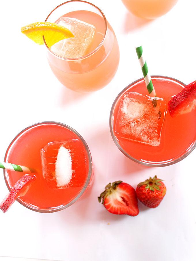 Strawberry Rhubarb and Honey Drink, 2 ways. A refreshing, summertime drink. Simpe to make. #refinedsugarfree