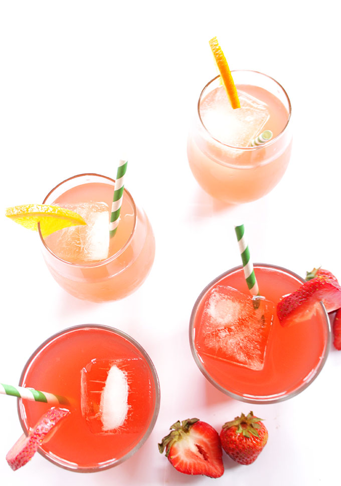 Strawberry Rhubarb and Honey Drink, 2 ways. Easy to make. Beautiful color and delicious. A sweet refreshing summertime treat.