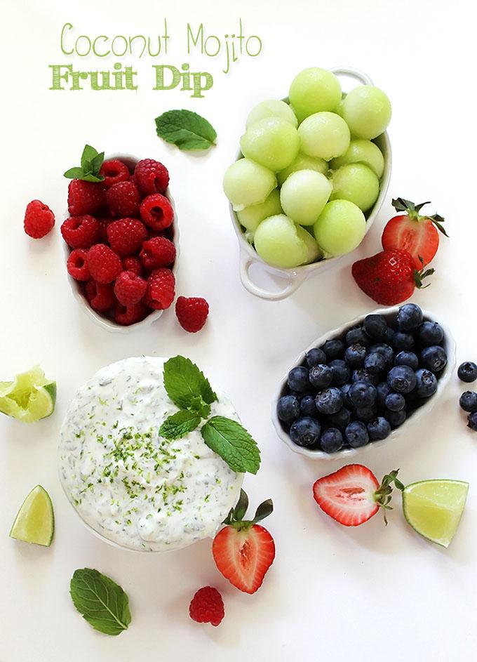 Coconut Mojito Fruit Dip. Simpe to make. Only requires 4 ingredients. Dlcious. Refreshing. #vegan #refinedsugarfree #glutenfree