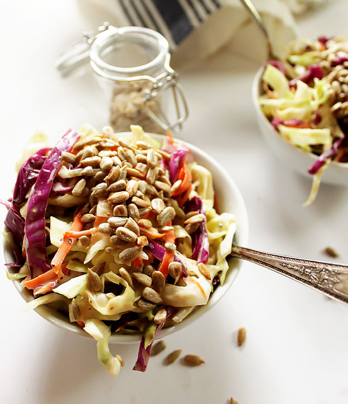 Simple Creamy Coleslaw. Easy to make. Perfect for summer. #glutenfree #vegetarian