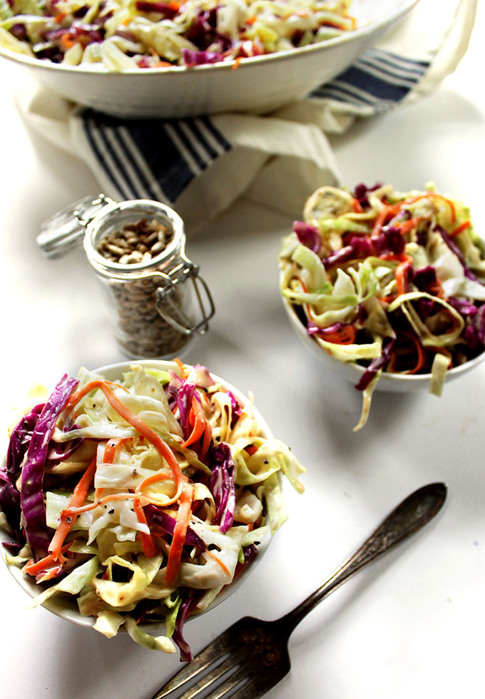 Simple Creamy Coleslaw. Perfectly simple, tangy, slightly sweet, refrshing, crunchy. #vegetarian #glutenfree