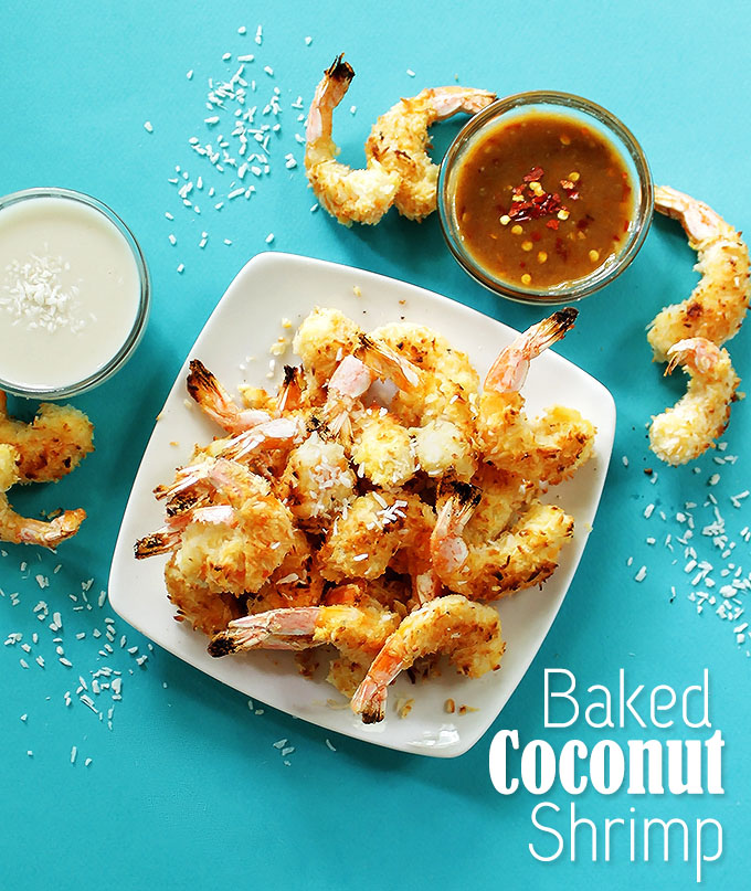 Baked Coconut Shrimp with 2 dipping sauces. No frying required! Crispy, coconutty! The perfect summertime meal! #glutenfree #shrimp | robustrecipes.com