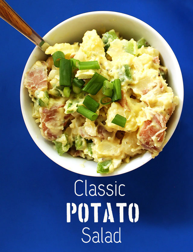 Classic Potato Salad. Simple to mak. Uber creamy. Perfect dish to bring to a summertime party. #vegetarian #glutenfree |robustrecipes.com