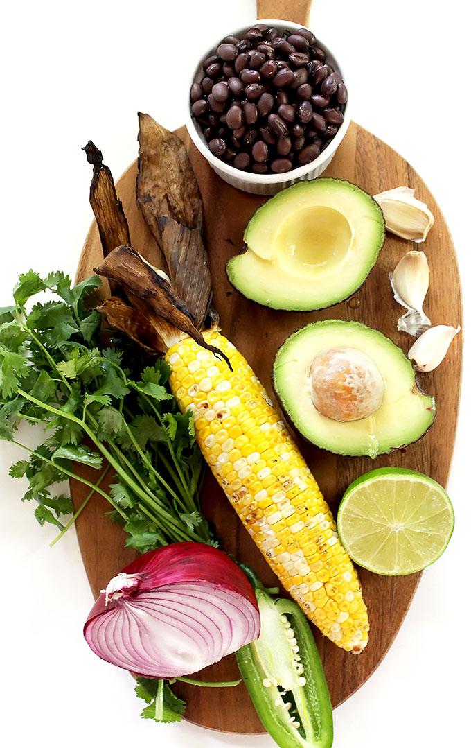 Grilled Corn and Black Bean Guacamole. A fun twist on traditional guacamole!  Perfect for summer. #vegan #glutenfree #guacamole | robustrecipes.com