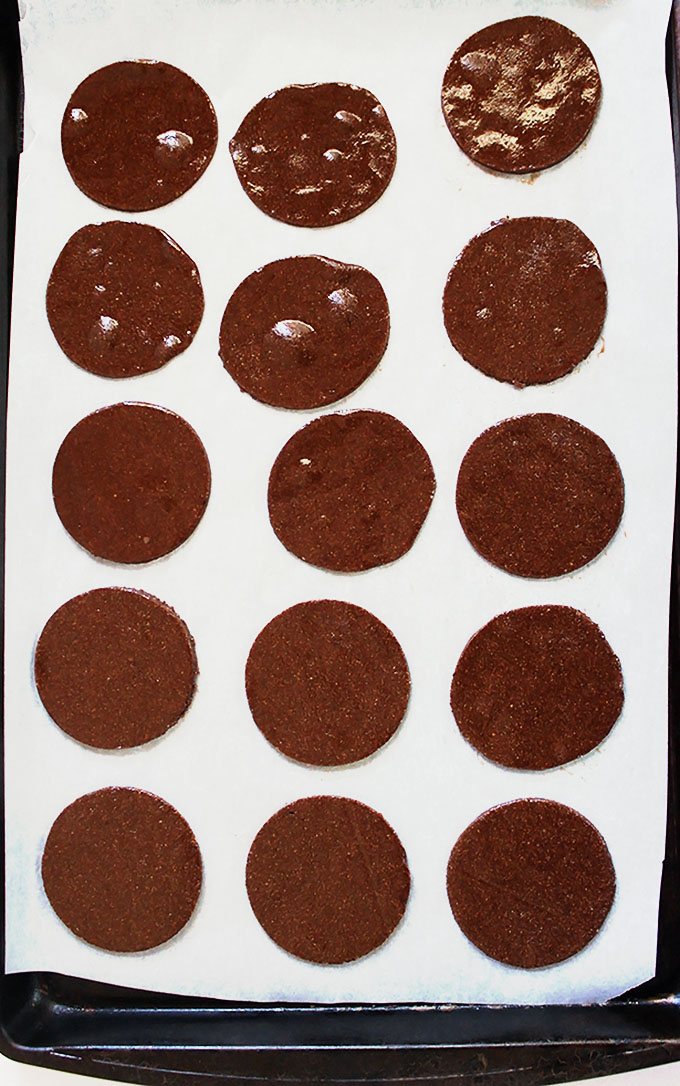 Cut outs of thin and crispy chocolate cookies. #glutenfree #cookies | robustrecipes.com