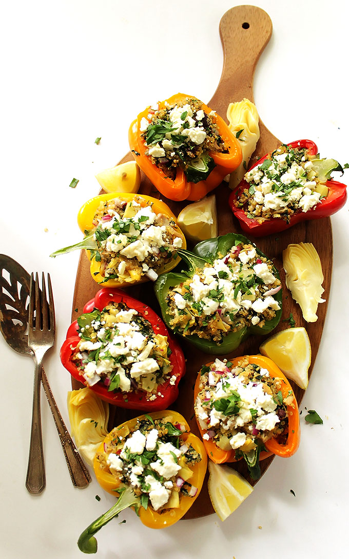 Greek Quinoa Stuffed Peppers. Easy to make. Meal-in-one. Super filling. #glutenfree #recipe | robustrecipes.com