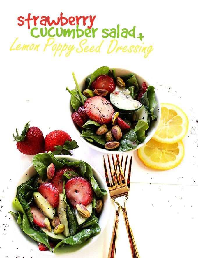 Strawberry Cucumber Salad with Creamy Lemon Poppy Seed Dressing. A simple, easy, refreshing summertime side salad. #vegetarian #salad #glutenfree | robustrecipes.com