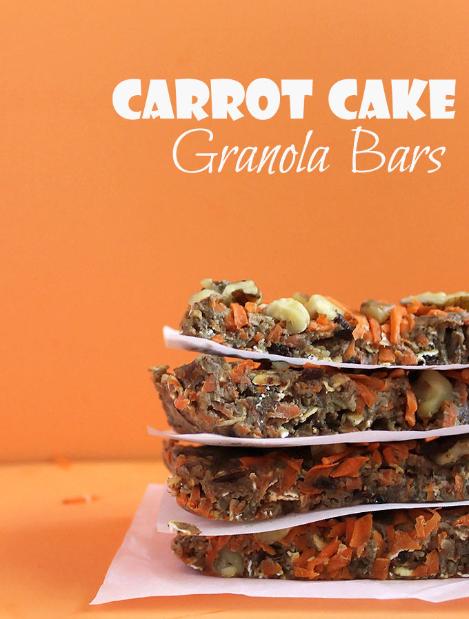 Carrot Cake Granola Bars. Tastes like carrot cake, only it's way healthier. Easy to make. #vegan #glutenfree | robustrecipes.com