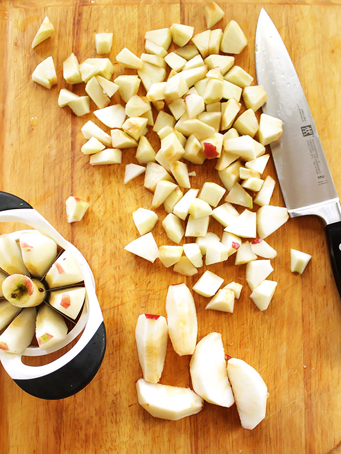 Chopping apples for Homemade Applesauce!  robustrecipes.com