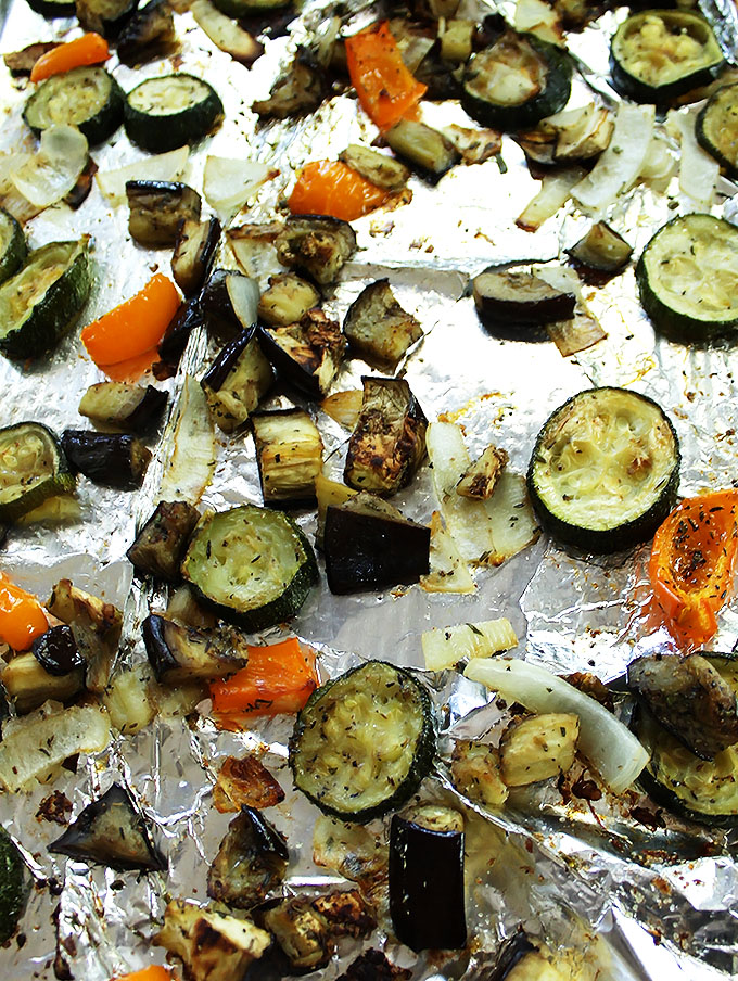 Roasted zucchini, eggplan, onion, and bell peppers for Ratatouillie.  | robustrecipes.com