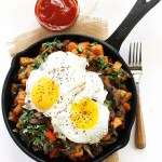 Sweet Potato Hash with Mushrooms. A great weekend breakfast! #vegetarian #glutenfree