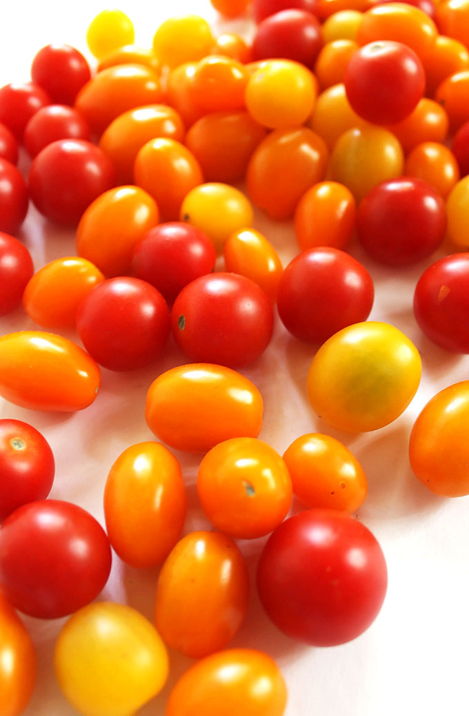 Yellow, orange, and red grape and cherry tomatoes! | robustrecipes.com