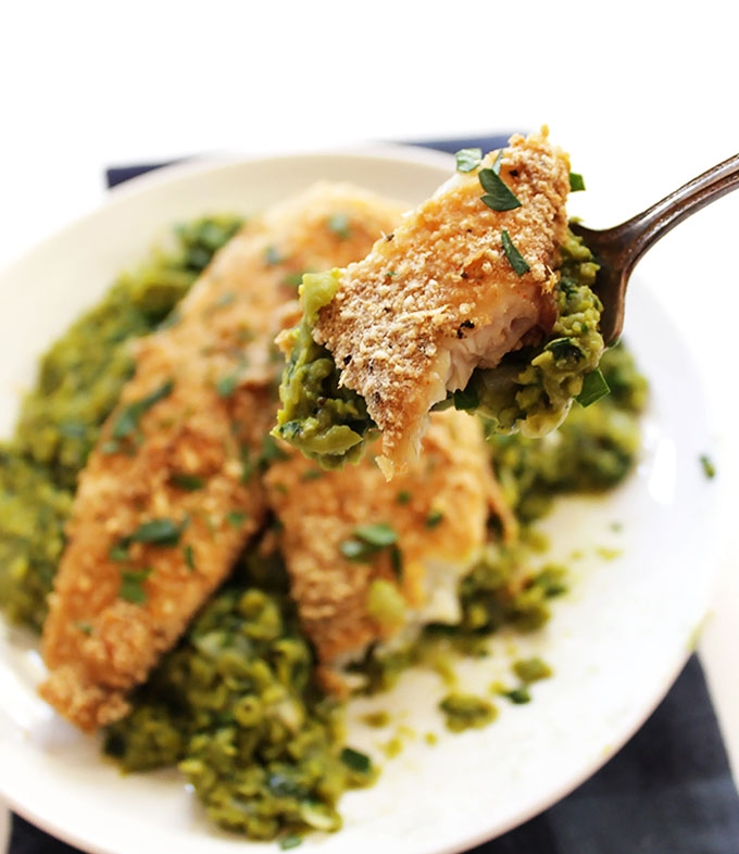 Crispy Tilapia with Mushy Peas. A quick and easy, delicious weeknight meal! #glutenfree | robustrecipes.com