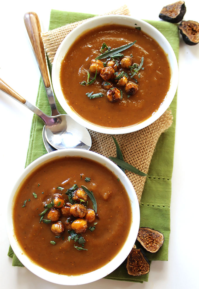 Roasted Sweet Potato Fig Soup with Crispy Chickpeas. Comforting. Sweet. Rich. Creamy. #glutenfree #soup