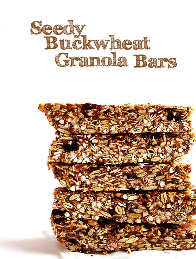 Seedy Buckwhat Granola Bars. Easy to make. Healthy, delicious. The perfect on the go snack! #glutenfree #snack