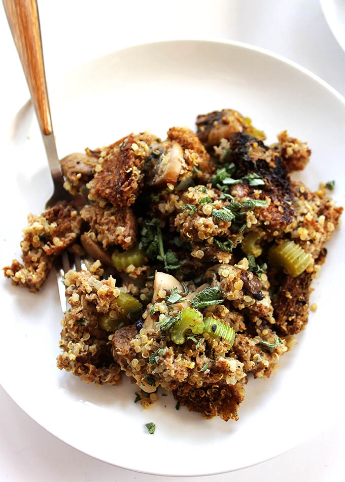 Healthier stuffing for Thanksgiving. Made with Ezekiel bread and quinoa. Hearty, filling, yummy!