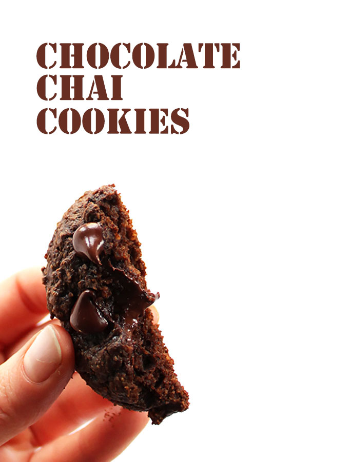 Chocolate Chai Cookies. Gluten Free and rich with chocolaty goodness and warming chai spices!