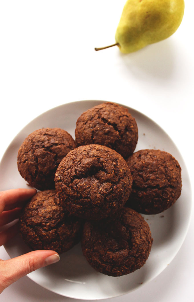 GLuten Free Gingerbread Pear Muffins. Bursting with rich molasses, spicy ginger, and freshly greated pear!