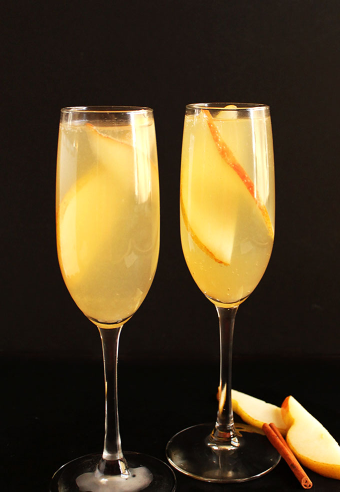 Pear Mimosa. Sweet pear with a hint of cinnamon. And a lot of bubbly! Perfect for any type of celebration!