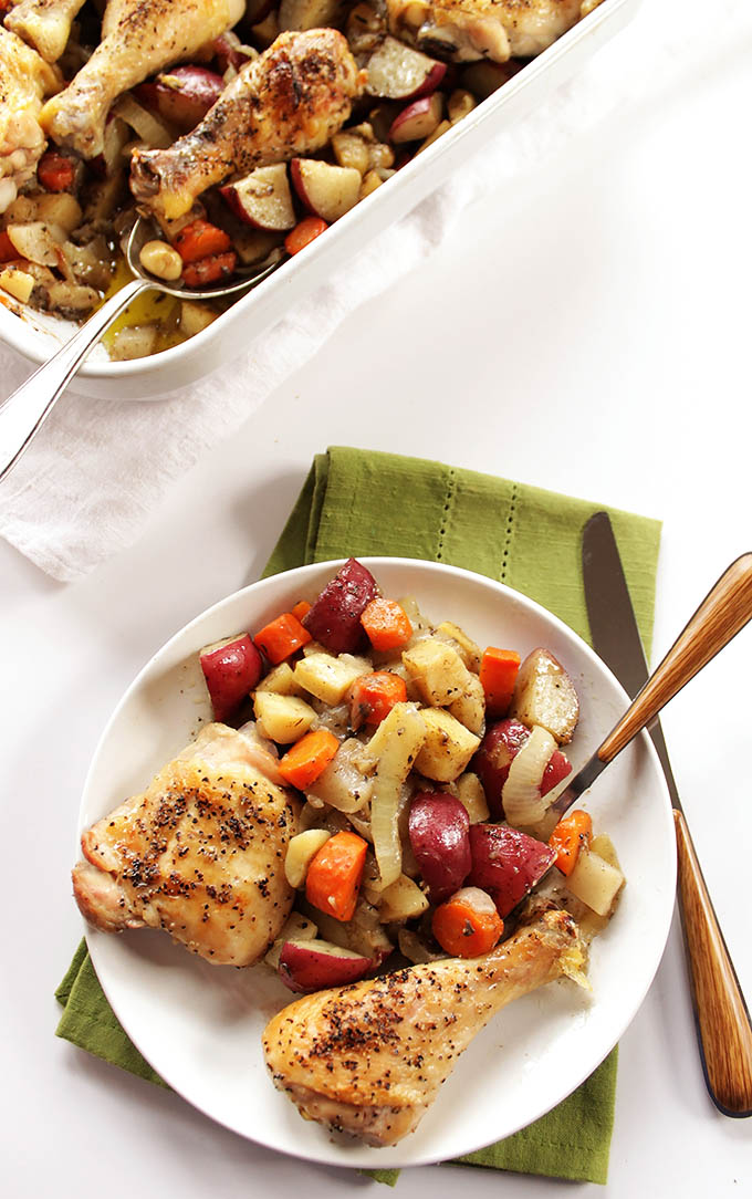 Roasted Chicken and Root Veggies. A delicious, healthy and easy one-pot-meal!