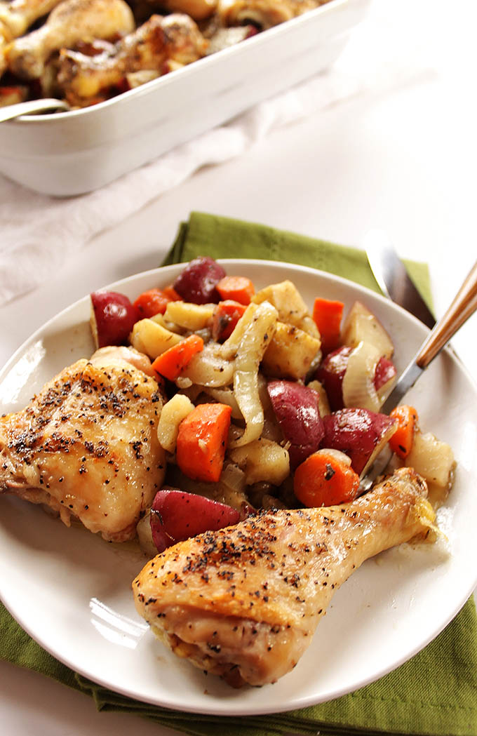 Roasted Chicken and Root veggies. Easy one-pot-meal that is done in an hour!