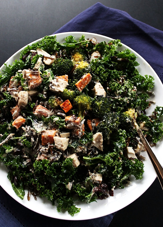 Roasted Veggie and Wild Rice Power Salad. Packed full of healthy foods. A great way to use up leftover turkey or chicken!