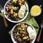 Brussels Sprouts Eggplant Buddha Bowl - Warm roasted veggies piled on top of greens! SO YUM! An easy and healthy recipe for any meal! Vegetarian/gluten free! | robustrecipes.com