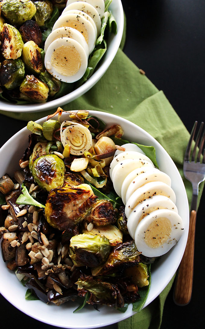 Brussels Sprouts Eggplant Buddha Bowl - Warm roasted veggies piled on top of greens. An easy, healthy recipe for any meal! Vegetarian/gluten free! | robustrecipes.com