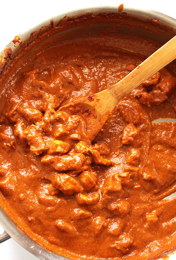 Butter Chicken - Tender chicken in a rich sauce. This is an EASY gluten free recipe! We LOVE this Indian dish! | robustrecipes.com