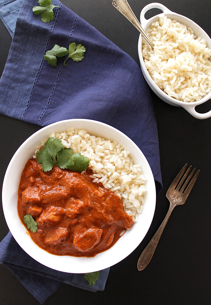 Butter Chicken - A flavorful Indian dish with tender chicken and a thick sauce. It's EASY To make and GLUTEN FREE. One of our favorite recipes! | robustrecipes.com