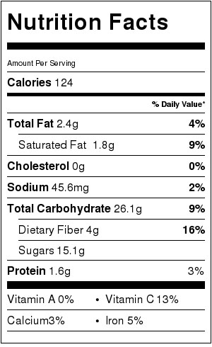 Apple Cinnamon and Barley Pudding - Nutrition info