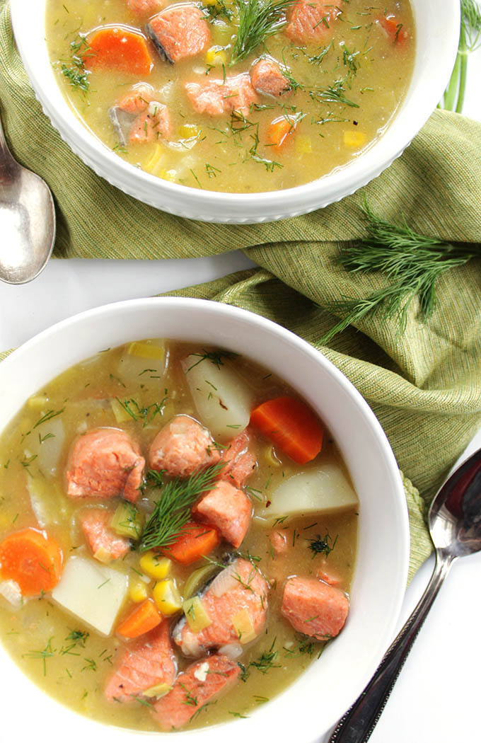 Dairy Free Salmon Chowder - A hearty soup with flaky salmon, corn, carrots, potatoes, and dill! Cashew milk replaces heavy cream! This is an EASY recipe to make. Gluten Free/Dairy Free | robustrecipes.com