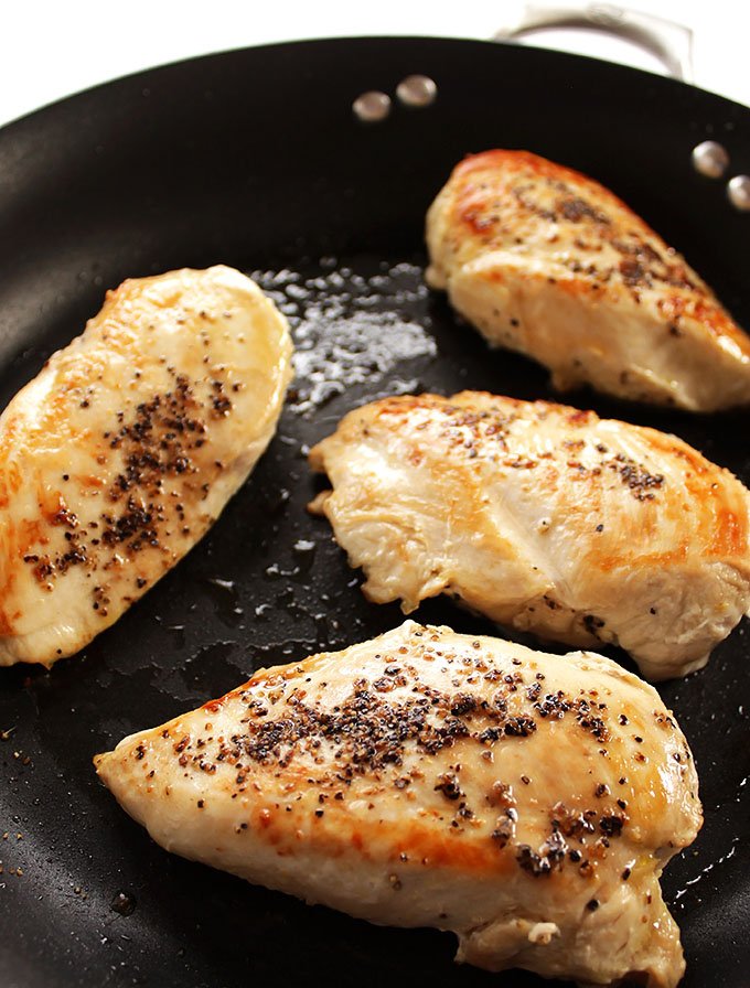 Pan seared chicken breasts for One Pan Apricot Chicken.