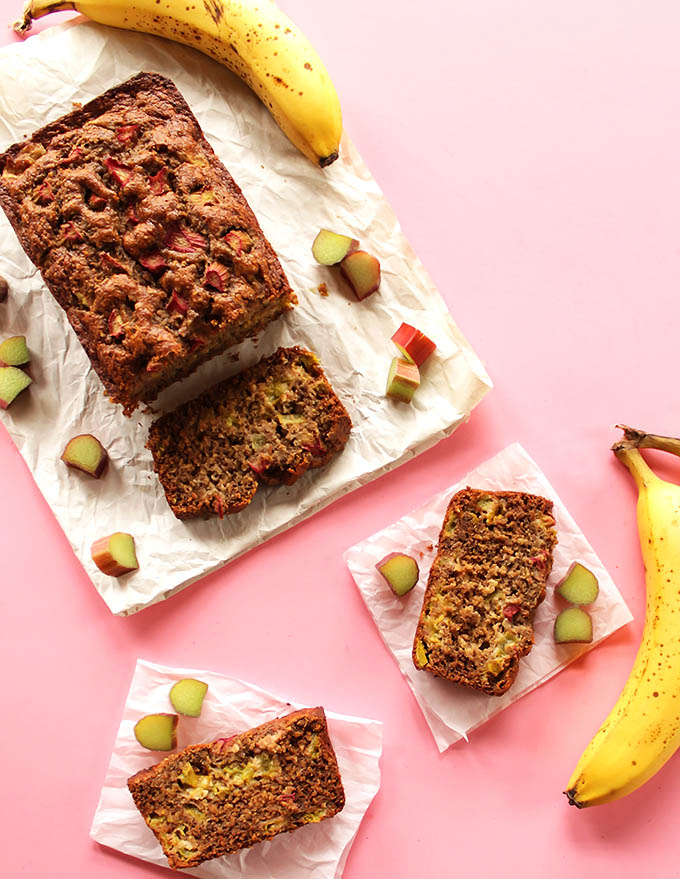 Banana Rhubarb Bread - Moist, rich banana bread with bits of tart rhubarb! Great recipe for spring! Gluten Free.