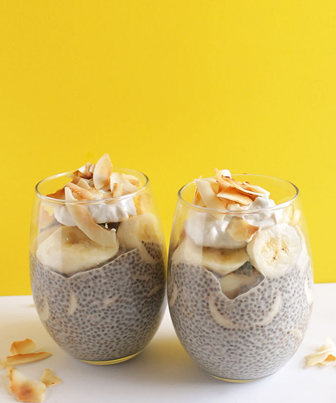 Coconut Banana Chia Seed Pudding - A decadent, yet healthy dessert recipe that's super EASY to make. Coconut chia pudding with layers of fresh bananas! Vegan/Gluten Free/Refined Sugar Free!