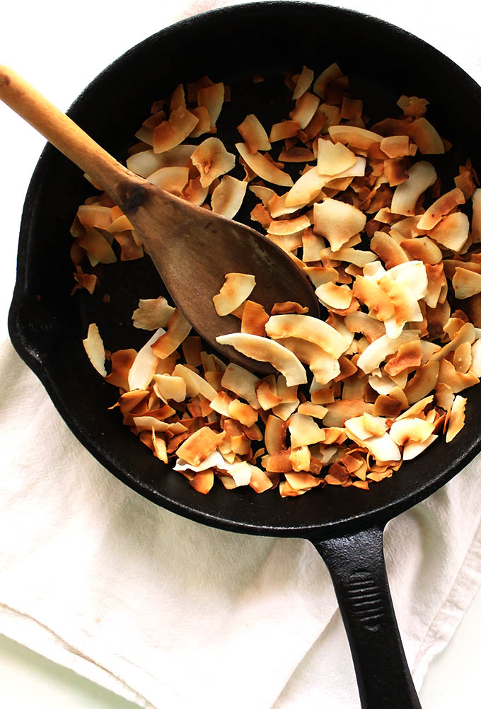 Toasted coconut flakes for Coconut Banana Chia Seed Pudding