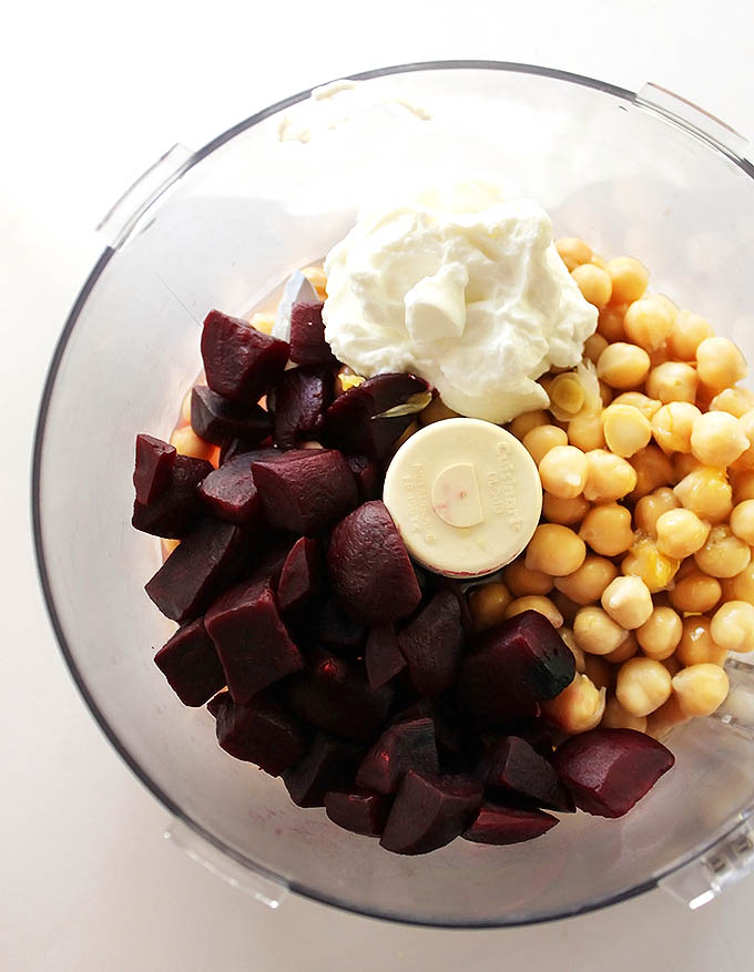Beet Basil Hummus - Chickpeas, cooked beet, and Greek yogurt!