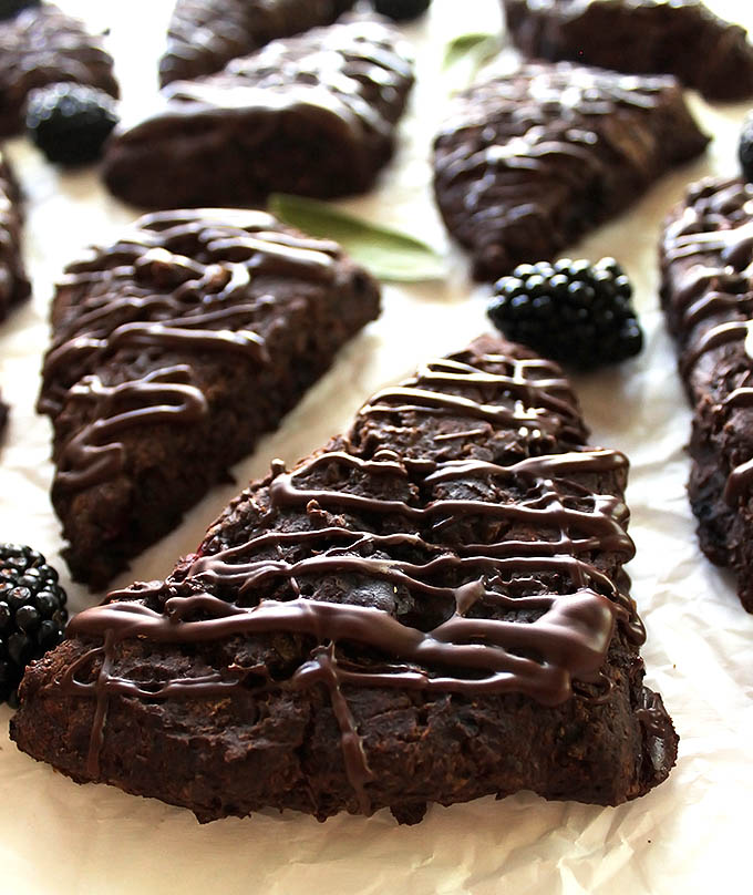 Gluten Free Chocolate Blackberry Sage Scones - Rich, chocolate-y scones with hints of sage and bursting with fresh blackberries. Perfect for a dessert of snack! Gluten Free