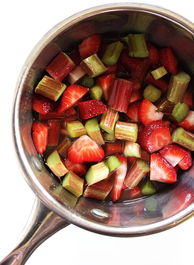 Making Strawberry Rhubarb compote.