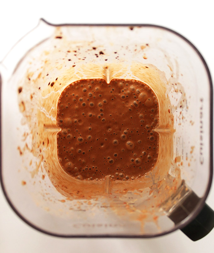 Blending up Chocolate Peanut Butter Banana Smoothie. Vegan/gluten free